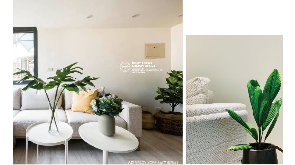 簡約風客廳案例-綠色植栽的交襯